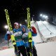 KUOPIO,FINLAND,23.FEB.16 - NORDIC SKIING, SKI JUMPING - FIS World Cup, large hill, men. Image shows the rejoicing of Michael  Hayboeck and Stefan  Kraft (AUT).. Photo: GEPA pictures/ Philipp Brem